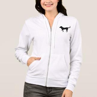 Women's zip hoodie black lab silhouette