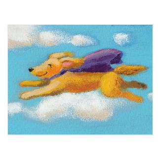 Wonder Dog - flying spaniel retriever with cape Postcard