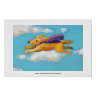 Wonder Dog - flying spaniel retriever with cape Poster