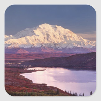 Wonder Lake and Mt. Denali at sunrise in the Square Sticker