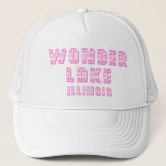 Wonder Lake Waterline Pink And White Trucker Hat