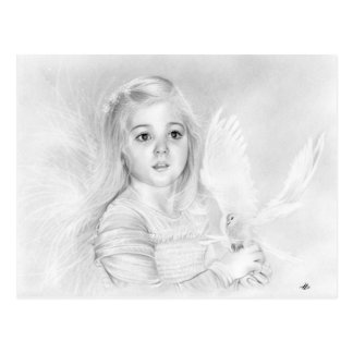 Wonder Little Angel Girl with white Dove postcard