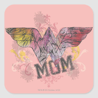 Wonder Mom Mixed Media Square Sticker