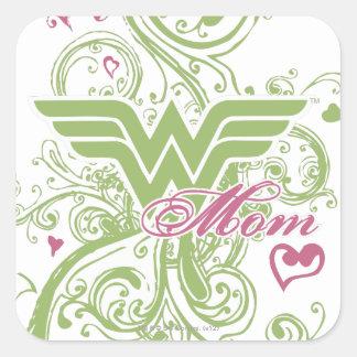 Wonder Mom Swirls Square Sticker
