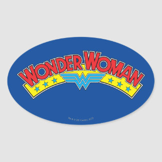 Wonder Woman 1987 Comic Book Logo Oval Sticker