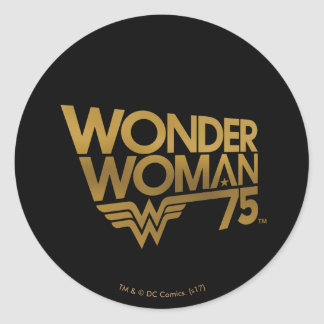 Wonder Woman 75th Anniversary Gold Logo Classic Round Sticker