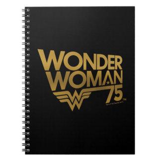Wonder Woman 75th Anniversary Gold Logo Notebook