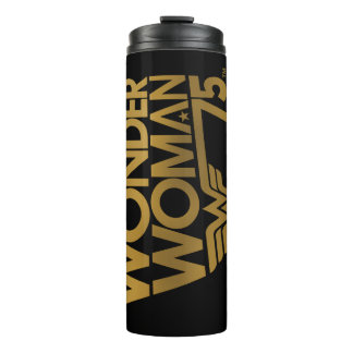 Wonder Woman 75th Anniversary Gold Logo Thermal Tumbler