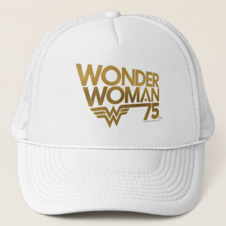 Wonder Woman 75th Anniversary Gold Logo Trucker Hat