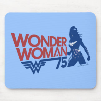 Wonder Woman 75th Anniversary Red & Blue Logo Mouse Pad