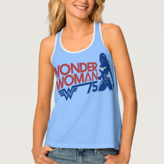 Wonder Woman 75th Anniversary Red & Blue Logo Singlet