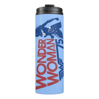 Wonder Woman 75th Anniversary Red & Blue Logo Thermal Tumbler