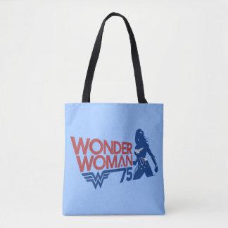Wonder Woman 75th Anniversary Red & Blue Logo Tote Bag