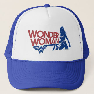 Wonder Woman 75th Anniversary Red & Blue Logo Trucker Hat