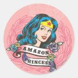 Wonder Woman Amazon Princess Round Sticker