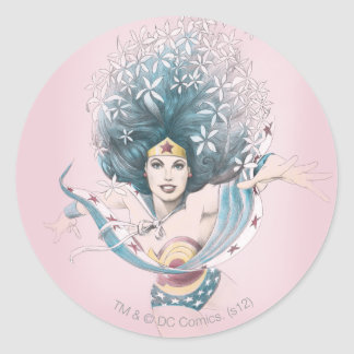 Wonder Woman and Flowers Round Sticker