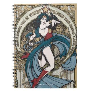 Wonder Woman Art Nouveau Panel Spiral Notebook