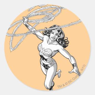 Wonder Woman B&W Lasso 4 Round Stickers