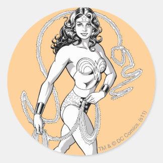 Wonder Woman B W Lasso 5 Round Sticker