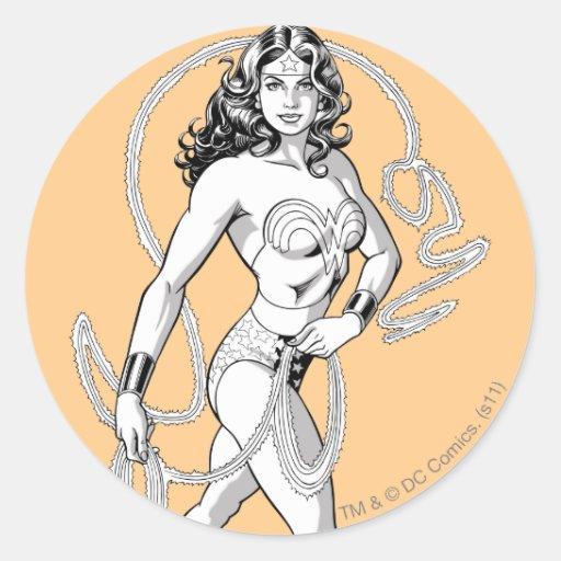 Wonder Woman B&W Lasso 5 Round Sticker