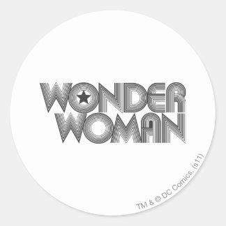 Wonder Woman B&W Logo 3 Round Stickers