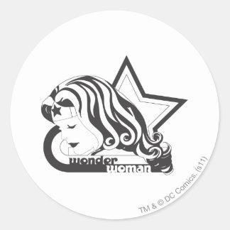 Wonder Woman B&W Star Round Sticker