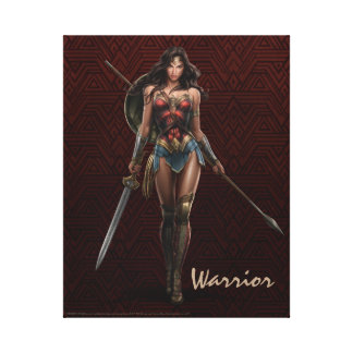 Wonder Woman Battle-Ready Comic Art Canvas Print