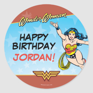 Wonder Woman Birthday Round Sticker
