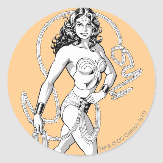 Wonder Woman Black & White Fighter Round Sticker