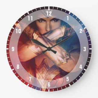Wonder Woman Blocking With Bracelets Large Clock