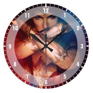 Wonder Woman Blocking With Bracelets Large Clock