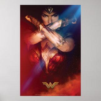 Wonder Woman Blocking With Bracelets Poster