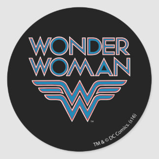 Wonder Woman Blue and Red Retro Logo Classic Round Sticker