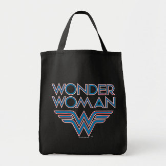 Wonder Woman Blue and Red Retro Logo Grocery Tote Bag