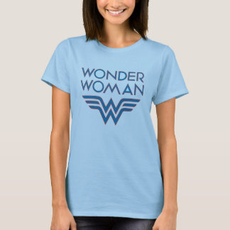 Wonder Woman Blue and Red Retro Logo T-Shirt