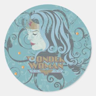 Wonder Woman Blue Background Round Sticker