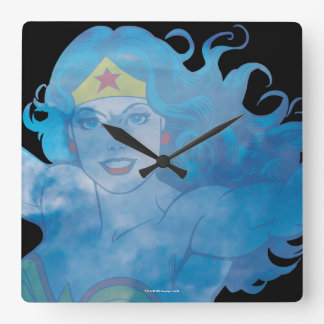 Wonder Woman Blue Sky Silhouette Square Wall Clock