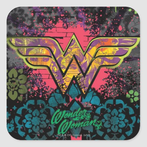 Wonder Woman Brick Wall Collage Square Stickers