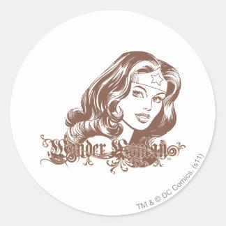 Wonder Woman Brown Round Sticker