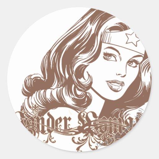 Wonder Woman Brown Sticker