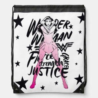 Wonder Woman Brush Typography Art Drawstring Bag