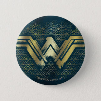 Wonder Woman Brushed Gold Symbol 6 Cm Round Badge