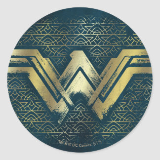 Wonder Woman Brushed Gold Symbol Classic Round Sticker