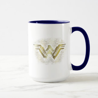 Wonder Woman Brushed Gold Symbol Mug