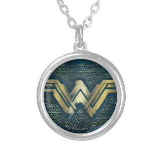 Wonder Woman Brushed Gold Symbol Silver Plated Necklace