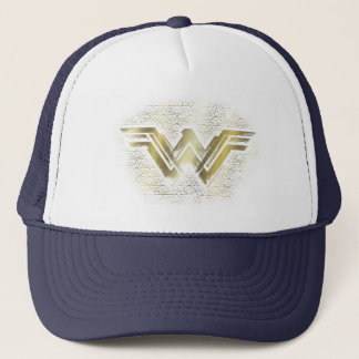 Wonder Woman Brushed Gold Symbol Trucker Hat