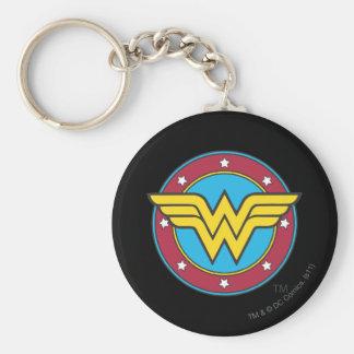 Wonder Woman | Circle & Stars Logo Basic Round Button Key Ring