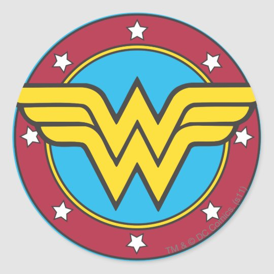Wonder woman logo gifts t shirts art posters other gift wonder woman circle amp stars logo classic round sticker pronofoot35fo Image collections