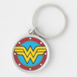 Wonder Woman Circle & Stars Logo Silver-Colored Round Key Ring