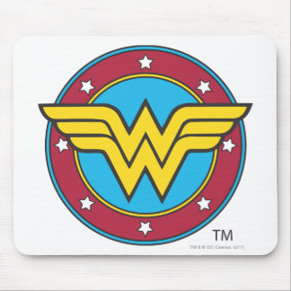 Wonder Woman Circle & Stars Logo Mouse Pad